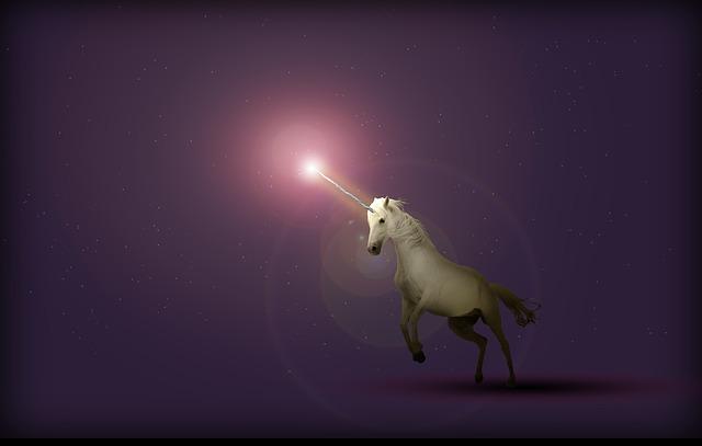 Unicorn in celestial light
